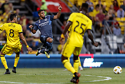 September 1, 2018 - Columbus, OH, U.S. - COLUMBUS, OH - SEPTEMBER 01: Ismael Tajouri (29) of New York City FC gets airborne to avoid a collision with Artur (8) of Columbus Crew SC in the MLS regular season game between the Columbus Crew SC and the New York City FC on September 01, 2018 at Mapfre Stadium in Columbus, OH. The Crew won 2-1. (Photo by Adam Lacy/Icon Sportswire) (Credit Image: © Adam Lacy/Icon SMI via ZUMA Press)