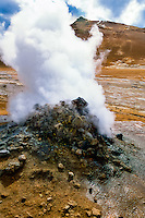 Iceland. Geothermal activity at Namafjall close to Krafla. Fumaroles.
