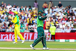 Quinton de Kock of South Africa celebrates reaching 50 runs against Australia - Mandatory by-line: Robbie Stephenson/JMP - 06/07/2019 - CRICKET - Old Trafford - Manchester, England - Australia v South Africa - ICC Cricket World Cup 2019 - Group Stage