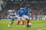 Portsmouth Midfielder, Jamal Lowe (10) holds up the ball during the EFL Sky Bet League 1 match between Portsmouth and Rochdale at Fratton Park, Portsmouth, England on 13 April 2019.