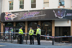 © Licensed to London News Pictures . 27/09/2015 . Brighton , UK . Crime Scene at Laser Zone directly opposite the Labour Party Conference venue , following an incident in the early hours of this morning (Sunday 27th September 2015) . The 2015 Labour Party Conference . Photo credit : Joel Goodman/LNP