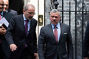 King Abdullah II of Jordan leaving a meeting with the Prime Minister at 10 Downing Street on 7 August, 2019 in London, United Kingdom.