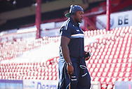 Adebayo Akinfenwa of Wycombe Wanderers (20) arrives at the ground during the EFL Sky Bet League 1 match between Barnsley and Wycombe Wanderers at Oakwell, Barnsley, England on 16 February 2019.