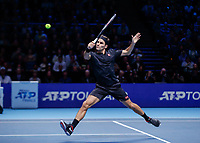 Tennis - 2019 Nitto ATP Finals at The O2 - Day Seven<br /> <br /> Semi Finals: Stefanos Tsitsipas (Greece) Vs. Roger Federer (Switzerland) <br /> <br /> Roger Federer (Switzerland) with a high backhand return<br /> <br /> COLORSPORT/DANIEL BEARHAM<br /> <br /> COLORSPORT/DANIEL BEARHAM