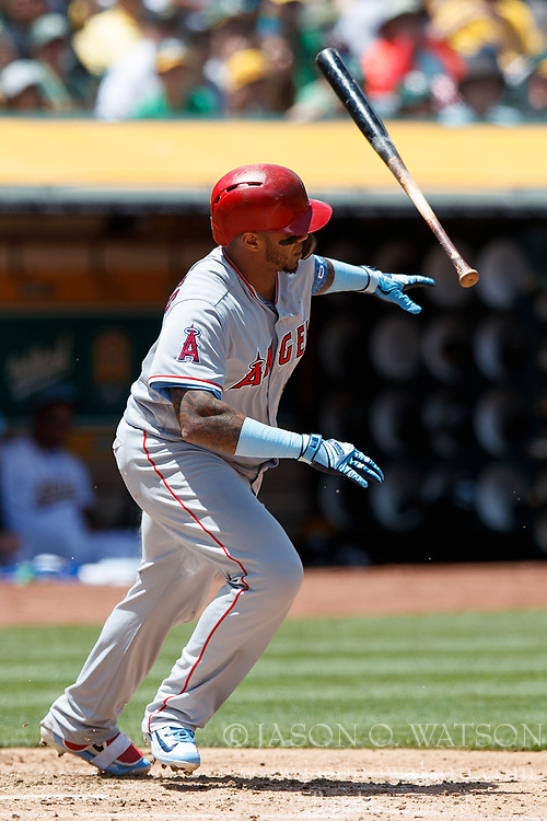 OAKLAND, CA - JUNE 17: Martin Maldonado #12 of the Los Angeles Angels of Anaheim at bat against the Oakland Athletics during the fourth inning at the Oakland Coliseum on June 17, 2018 in Oakland, California. The Oakland Athletics defeated the Los Angeles Angels of Anaheim 6-5 in 11 innings. (Photo by Jason O. Watson/Getty Images) *** Local Caption *** Martin Maldonado