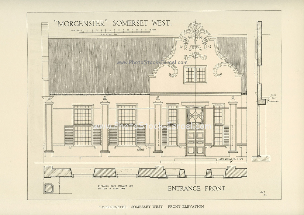 Morgenster Somerset West [Front] From the book ' Eighteenth century architecture in South Africa ' by Geoffrey Eastcott Pearse. Published by A.A. Balkema, Cape Town in 1933 G. E. Pearse was among the first to bring Cape architecture to a wide audience in a scholarly way. Eighteenth Century Architecture in South Africa was the result of many years research on the topic and remains an important reference work for the subject.