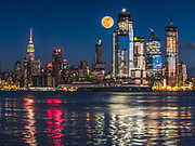 The New Yorker, A Wyndham Hotel, an Art Deco-inspired hotel, The Empire State Building, and the Hudson Yards modern building complex define the skyline of New York City.