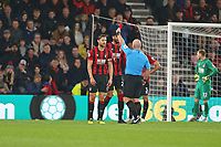 Football - 2019 / 2020 Premier League - AFC Bournemouth vs. Wolverhampton Wanderers<br /> <br /> Bournemouth's Simon Francis receives a red card from Referee Mr Simon Hooper during the Premier League match at the Vitality Stadium (Dean Court) Bournemouth  <br /> <br /> COLORSPORT/SHAUN BOGGUST
