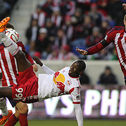 Bradley Wright-Phillips, New York Red Bulls, attempts an overhead kick during the New York Red Bulls V Chivas USA, Major League Soccer regular season match at Red Bull Arena, Harrison, New Jersey. USA. 30th March 2014. Photo Tim Clayton