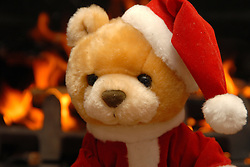 Home Christmas scene, Teddy bear with open fire in the background. Photo By i-Images