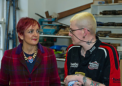 Pictured: Angela Constance met Steven Scott whose confidence has been built up over the time he has visited and worked at the Grassmarket Centre<br /> <br /> Communities Secretary Angela Constance MSP visited the Grassmarket Community Project today to see how a successful social enterprise works. While she was there, Ms Constance launched the Scottish Government's social enterprise strategy.<br /> <br /> Ger Harley   EEm 14 December 2016