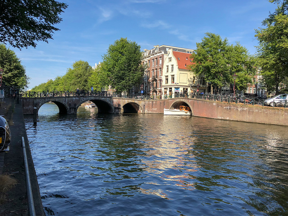 Intersecting canals in Amsterdam, Netherlands