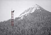 A contract crewman with AT&T reaches the top of the KTKN-AM radio tower during the third and final day of an annual inspection on January 31, 2020 in Ketchikan, Alaska. The tower stands at about 282 feet tall. Two contractors scaled to the top of the tower and took measurements using standard aluminum tape measures. One technicioan used a camera to document the inspection.