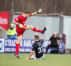 Morton's keeper Derek Gaston clears from Falkirk's Fraser Aird. half time ; Falkirk 0 v 0 Morton, Scottish Championship game played 18/3/2017 at The Falkirk Stadium.