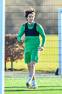 Joe Newell (#11) of Hibernian FC (left) during the training session for Hibernian FC at the Hibs Training Centre, Ormiston, Scotland on 26 February 2021, ahead of the SPFL Premiership match against Motherwell.