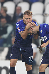 October 14, 2017 - Turin, Italy - Lazio forward Ciro Immobile (17) celebrates after scoring his goal during the Serie A football match n.8 JUVENTUS - LAZIO on 14/10/2017 at the Allianz Stadium in Turin, Italy. (Credit Image: © Matteo Bottanelli/NurPhoto via ZUMA Press)