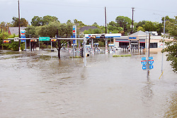(170828) -- HOUSTON, Aug. 28, 2017 (Xinhua) -- Flood inundates roads in Houston, Texas, the United States, Aug. 27, 2017. Widespread and worsening flood conditions prompted the closure of nearly every major road in Houston as the outer bands of Hurricane Harvey swept through the Houston area over the weekend. Latest news reports said the storm death toll has climbed to at least 5. (Xinhua/Zhong Jia) (zjl)  (Photo by Xinhua/Sipa USA)