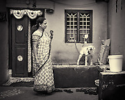 Woman and Dog - Bangalore, India