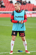 Charlton Athletic midfielder Chris Solly (20) in warm up before the EFL Sky Bet League 1 match between Barnsley and Charlton Athletic at Oakwell, Barnsley, England on 29 December 2018.