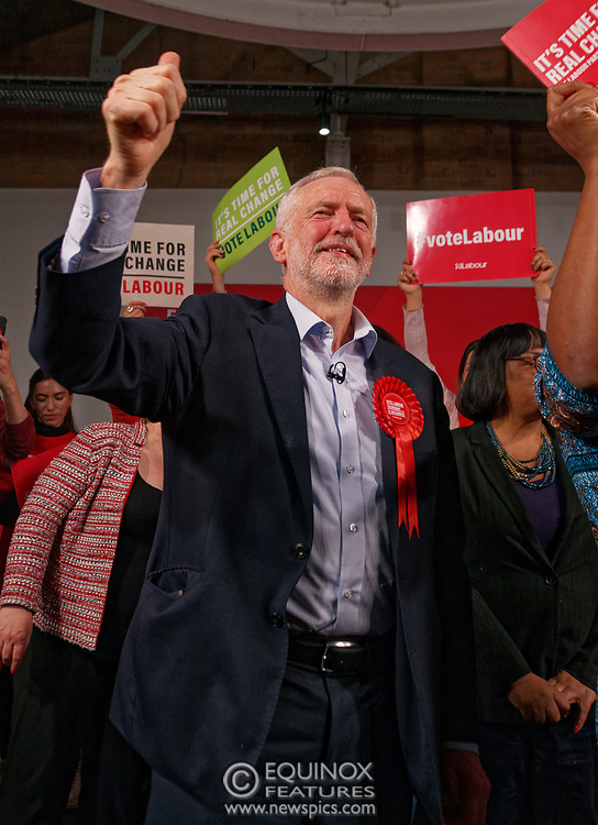 London, United Kingdom - 11 December 2019<br /> Labour Party leader Jeremy Corbyn speaking at their final campaign rally before the General Election 2019 at Hoxton Docks, London, England, UK.<br /> (photo by: EQUINOXFEATURES.COM)<br /> Picture Data:<br /> Photographer: Equinox Features<br /> Copyright: ©2019 Equinox Licensing Ltd. +443700 780000<br /> Contact: Equinox Features<br /> Date Taken: 20191211<br /> Time Taken: 21580918<br /> www.newspics.com