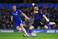 Football - 2018 / 2019 Emirates FA Cup - Fourth Round: Chelsea vs. Sheffield Wednesday<br /> <br /> Sheffield Wednesday's Keiren Westwood clears from Chelsea's Ross Barkley, at Stamford Bridge.<br /> <br /> COLORSPORT/ASHLEY WESTERN