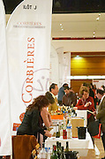 Corbieres, banners and exhibitors at wine fair. Languedoc. France. Europe.