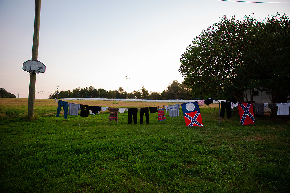 Confederate flags on a clothing line at Janet and Richard Bishop's home near Social Circle, Ga., on Thursday, Sept. 28, 2017. Photo by Kevin D. Liles/kevindliles.com
