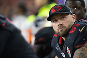 San Francisco 49ers center Daniel Kilgore (67) hangs out on the sideline during a game against the Arizona Cardinals at Levi's Stadium in Santa Clara, Calif., on October 6, 2016. (Stan Olszewski/Special to S.F. Examiner)