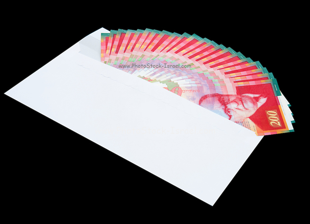 White envelope with bank notes, bills of NIS200 on a black background
