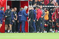 Football - 2019 / 2020 Premier League - AFC Bournemouth vs. West Ham United<br /> <br /> West Ham United Manager Manuel Pellegrini speaks to Bournemouth's Manager Eddie Howe after the final whistle at the Vitality Stadium (Dean Court) Bournemouth <br /> <br /> COLORSPORT/SHAUN BOGGUST