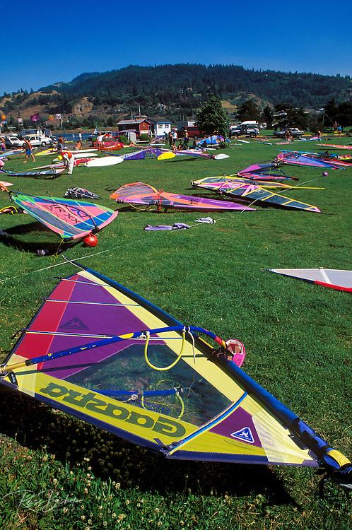 The sailboard rigging area at the Hood River Marina, Hood River, Oregon