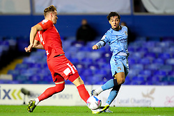 Tyler Walker of Coventry City crosses, under pressure from Birmingham City's Marc Roberts - Mandatory by-line: Nick Browning/JMP - 20/11/2020 - FOOTBALL - St Andrews - Birmingham, England - Coventry City v Birmingham City - Sky Bet Championship