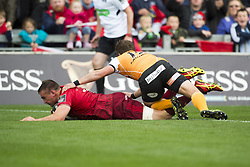 September 9, 2017 - Limerick, Ireland - Tommy O'Donnell of Munster scores a try during the Guinness PRO14 rugby match between Munster Rugby and Cheetahs Rugby at Thomond Park in Limerick, Ireland on September 9, 2017  (Credit Image: © Andrew Surma/NurPhoto via ZUMA Press)