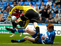 Photo: Ed Godden.<br /> Reading v Queens Park Rangers. Coca Cola Championship. 30/04/2006. Dave Kitson (Reading) tussles on the floor with QPR keeper, Paul Jones.