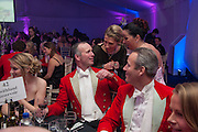 ALEX ROSS-WILSON; BEHIND: AMANDA SHARPE; FAYE WOOD, Quorn Hunt Ball, Stanford Hall. Standford on Soar. 25 January 2014