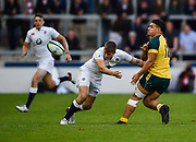 Australia centre Sione Tuipolotu offloads the ball during the World Rugby U20 Championship  match England U20 -V- Australia U20 at The AJ Bell Stadium, Salford, Greater Manchester, England on June  15  2016, (Steve Flynn/Image of Sport)