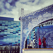 Performers rehearse on stage before Olympic Park is opened to visitors Wednesday, Feb. 5, 2014. Photographed during the Winter Olympics in Sochi, Russia with an iPhone and Instragram. (Brian Cassella/Chicago Tribune) B583527420Z.1 <br /> ....OUTSIDE TRIBUNE CO.- NO MAGS,  NO SALES, NO INTERNET, NO TV, CHICAGO OUT, NO DIGITAL MANIPULATION...