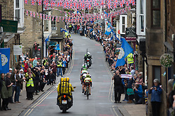 The break rides through Pateley Bridge during the Tour de Yorkshire - a 122.5 km road race, between Tadcaster and Harrogate on April 29, 2017, in Yorkshire, United Kingdom.