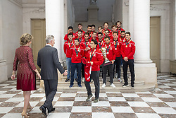 December 18, 2018 - Brussels, BELGIUM - Queen Mathilde of Belgium and King Philippe - Filip of Belgium pictured during a reception to honour the new hockey world champions, the Belgian Red Lions team, in the Royal castle in Laken - Laeken, Tuesday 18 December 2018. Red Lions won 3-2 the final against The Netherlands in India last last Sunday. BELGA PHOTO HATIM KAGHAT (Credit Image: © Hatim Kaghat/Belga via ZUMA Press)