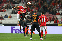February 21, 2019 - Lisbon, Portugal - Ferro (Francisco Reis Ferreira) of SL Benfica (L) vies for the ball with Mbaye Diagne of Galatasaray AS (R) during the Europa League 2018/2019 footballl match between SL Benfica vs Galatasaray AS. (Credit Image: © David Martins/SOPA Images via ZUMA Wire)