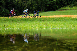 Ziga Horvat (SLO) of Adria Mobil, Przemyslaw Kasperkiewicz (POL) of Delko Marseille Provence and Charles Planet (FRA) of Team Novo Nordisk Peloton in town Kamni Potok during 5th Stage of 26th Tour of Slovenia 2019 cycling race between Trebnje and Novo mesto (167,5 km), on June 23, 2019 in Slovenia. Photo by Matic Klansek Velej / Sportida