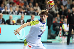 Jure Dolenec of Slovenia during the semifinal match of IHF World Championship Spain 2013 between Spain and Slovenia at Pabellon Principe Felipe Arena on January 25, 2013 in Barcelona, Spain. (Photo by Joma  Garcia / Sportida.com)