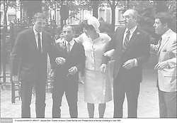 © Lecoeuvre/ABACA. 49814-7. Jacques Brel, Charles Aznavour, Eddie Barclay and Philippe Nicaud at Barclay's wedding in June 1965 .