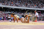 Jessica Ennis-Hill of Great Britain in the long jump during the Sainsbury's Anniversary Games at the Queen Elizabeth II Olympic Park, London, United Kingdom on 25th July 2015. Photo by Ellie Hoad.