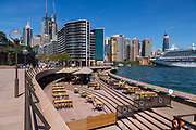 Opera Quays, Circular Quay, in Sydney's Central Business District is very empty as a result of the Coronavirus Outbreak, with very few customers around, Sydney, Australia.