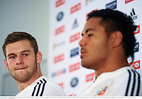 24 June 2013; Dan Lydiate, left, and Manu Tuilagi, British & Irish Lions, during a press conference ahead of their match against Melbourne Rebels on Tuesday. British & Irish Lions Tour 2013, Press Conference. AAMI Park, Olympic Boulevard, Melbourne, Australia. Picture credit: Stephen McCarthy / SPORTSFILE