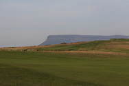 The 18th fairway with Ben Bulbin in the background during Round 3 of The West of Ireland Open Championship in Co. Sligo Golf Club, Rosses Point, Sligo on Saturday 6th April 2019.<br /> Picture:  Thos Caffrey / www.golffile.ie