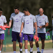 Orlando City Lions players walk to the pitch for the first day of MLS soccer team practice for the Orlando City Soccer Club at Sylvan Lake Park on Friday, January 23, 2015 in Sanford,Florida. (AP Photo/Alex Menendez)