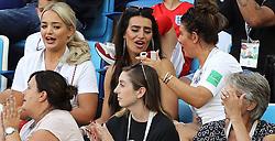 Megan Davison, girlfriend of England goalkeeper Jordan Pickford (left) Annie Kilner, girlfriend of England's Kyle Walker (centre) and Rebekah Vardy, wife of England's Jamie Vardy during the FIFA World Cup Group G match at Kaliningrad Stadium.