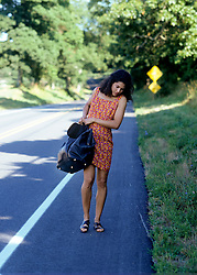 woman in a dress carrying a suitcase on a road in the county